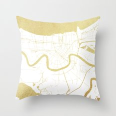 New Orleans White and Gold Map Throw Pillow