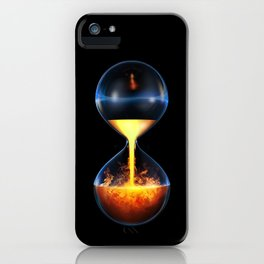 Old flame / 3D render of hourglass flowing liquid fire iPhone Case