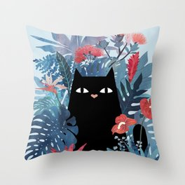 Popoki in Blue Throw Pillow