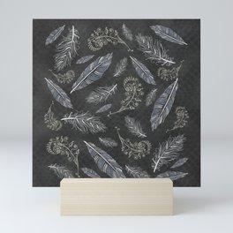 Boho Feathers and Flowering Plants Slate Grey Blue Southwestern Diamond Mosaic Mini Art Print