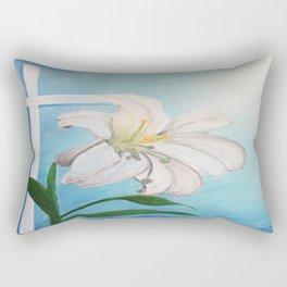 Easter Lilly Cross Rectangular Pillow