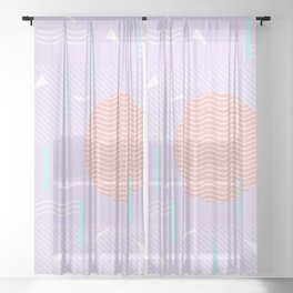 Memphis Summer Lavender Waves Sheer Curtain