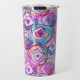 Watercolour & Rainbow Ink Flowers , Colorful Floral Painting Travel Mug