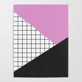 Geometry: black, pink and squres Poster