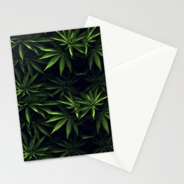Weed leafs - Cannabis field Stationery Cards