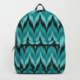 Turquoise and Black Bargello Pattern Backpack