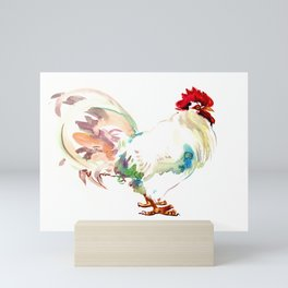 White Rooster Mini Art Print