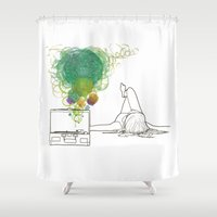 record Shower Curtains featuring Record Playing by MaryMulberry