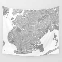 Brooklyn map grey Wall Tapestry