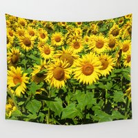 sunflowers Wall Tapestries featuring Sunflowers. by Assiyam