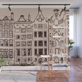 Canal house in Amsterdam, The Netherlands Wall Mural