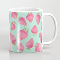 strawberry Mugs featuring Strawberry  by Marta Olga Klara