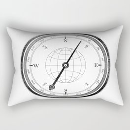 Textured Compass on White Rectangular Pillow