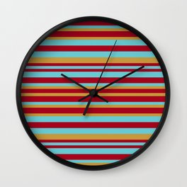 Golden, Red Wine and Turquoise Vintage Stripes Wall Clock