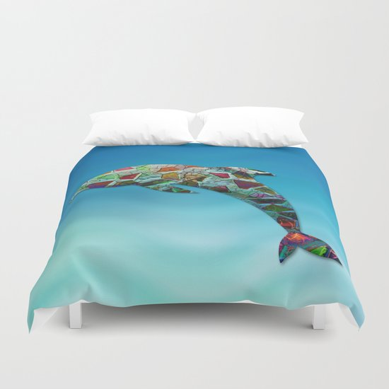 Animal Mosaic - The Dolphin Duvet Cover
