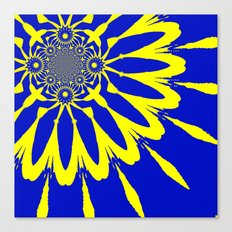 The Modern Flower Blue & Yellow Canvas Print