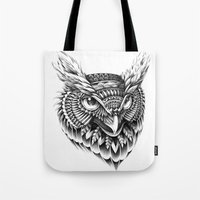 bioworkz Tote Bags featuring Ornate Owl Head by BIOWORKZ