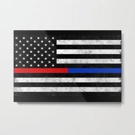 Fire Police American Flag Metal Print