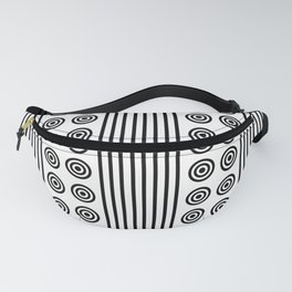 Geometric Dusky Black & White Vertical Stripes & Circles Fanny Pack
