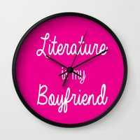 literature Wall Clocks featuring literature is my boyfriend pink by Beautiful Bibliophile's Boutique
