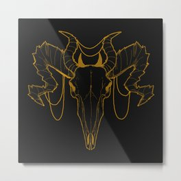 Golden Horned Skull Metal Print