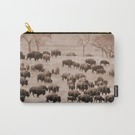 Buffalo Herd in Sepia Carry-All Pouch