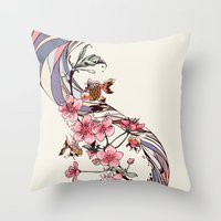 blossom Throw Pillows featuring Blossom by Huebucket