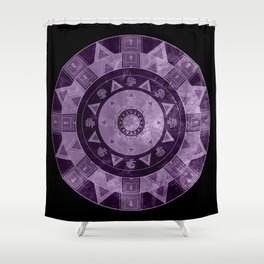 ethnic circle with watercolors Shower Curtain