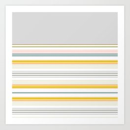 Blue Grey Gold Stripe Mix & Match Art Print