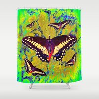 butterflies Shower Curtains featuring butterflies  by  Agostino Lo Coco