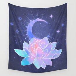 moon lotus flower Wall Tapestry