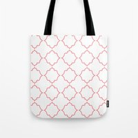 moroccan Tote Bags featuring Moroccan Coral by Jenna Mhairi