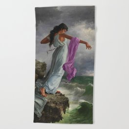 Death of the Tenth Muse Poetess Sappho at Leucadian cliffs by Miguel Carbonell Selva Beach Towel