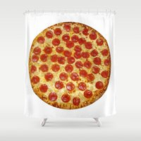 pizza Shower Curtains featuring Pizza by I Love Decor