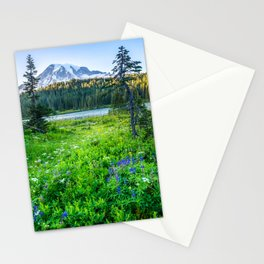 Rainier Wildflowers - Mt. Rainier in the Fall at Reflection Lake Stationery Cards