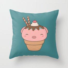 Kawaii Cute Pig Ice Cream Cone Throw Pillow