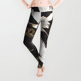 Japanese seamless pattern with crane birds and bonsai trees Leggings