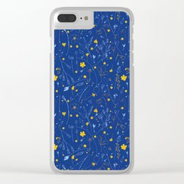 June Garden -Yellow and blue Clear iPhone Case