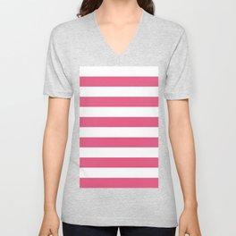 Horizontal Stripes - White and Dark Pink Unisex V-Neck