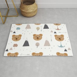 Seamless kids pattern with lovely cute bears and forest Rug
