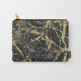Marble - Glittery Gold Marble on Black Design Carry-All Pouch