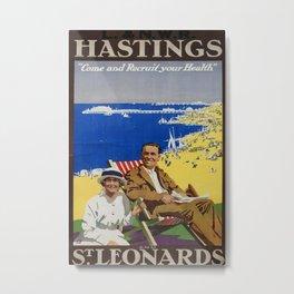 Hastings and St Leonards Vintage Travel Poster Metal Print