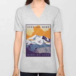 live to ride, ride to live retro cycling poster Unisex V-Neck