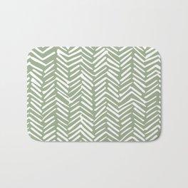 Boho Herringbone Pattern, Sage Green and White Bath Mat