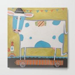 Folk Blue Cow Having Fun Metal Print