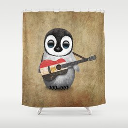 Baby Penguin Playing Egyptian Flag Acoustic Guitar Shower Curtain