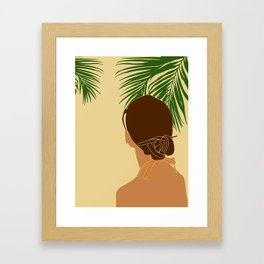 Tropical Reverie - Modern Minimal Illustration 12 - Girl with palm leaf - Tropical Aesthetic - Brown Framed Art Print