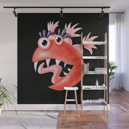 Funny Monster Crazy Silly Creature With Ponytails Wall Mural