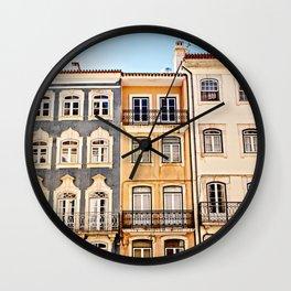 Coimbra Portugal Pastel Buildings Wall Clock
