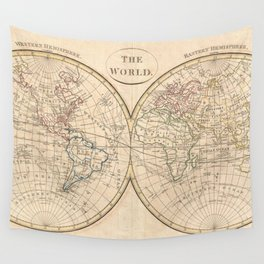 Vintage Map of The World (1799) 3 Wall Tapestry